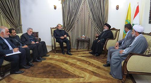 Le président du Parlement iranien chez sayed Nasrallah