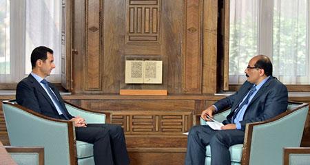 Le président syrien se dit confiant dans le soutien de l'Iran et de la Russie.