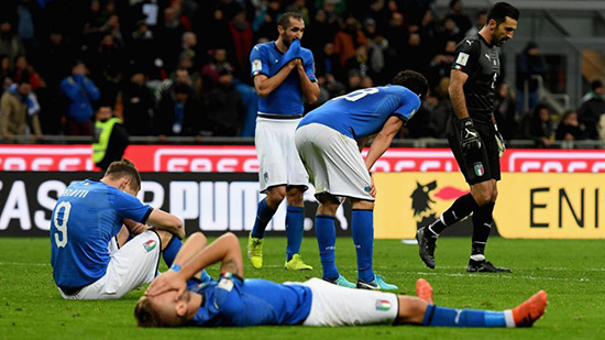 Foot: l'Italie hors du Mondial 2018, du jamais vu depuis 1958.