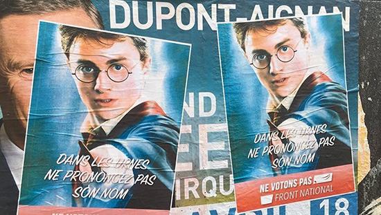 Harry Potter, Aladin et Astérix lancent une campagne anti-FN à Paris.