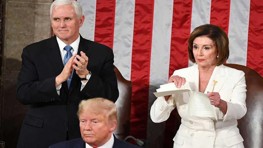 Snobée par Donald Trump, la chef démocrate Nancy Pelosi déchire son discours