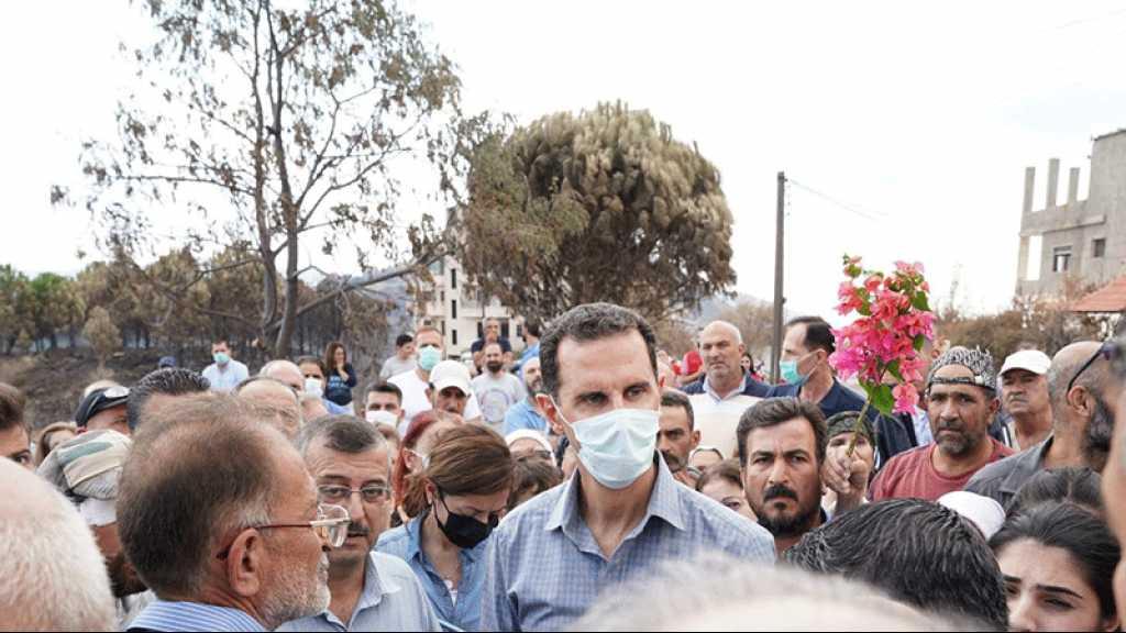 Le président Assad parachève sa tournée dans les zones endommagées par les incendies