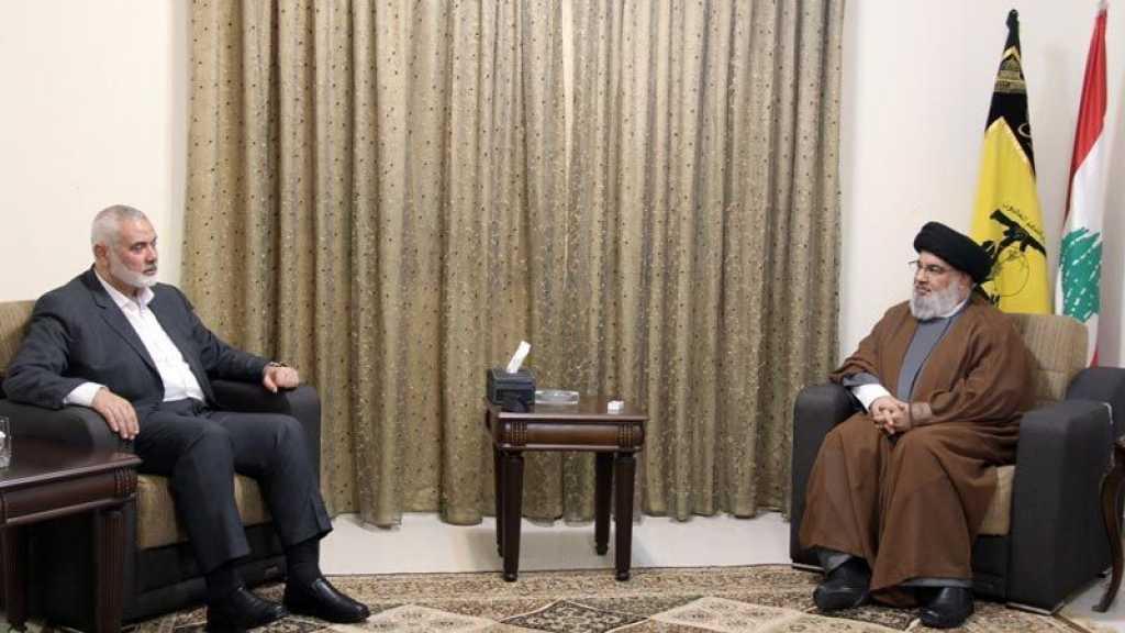 Le chef du bureau politique du Hamas chez sayed Nasrallah